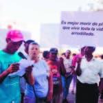 Marcha de los  Pelegrinos y Campesinos del Seíbo durante una rueda en parque Eriqillo. Santo Domingo Rep. Dom. 17 de noviembre del 2019. Foto Pedro Sosa