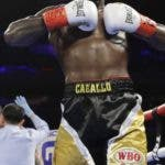 Dominican Republic's Carlos Adames, right, reacts after beating Frank Galarza in a super welterweight championship boxing match Saturday, April 20, 2019, in New York. Adames stopped Galarza in the fourth round. (AP Photo/Frank Franklin II)