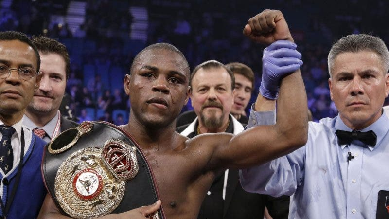 Javier Fortuna, from Pt. Hueneme, Calif., is declared the winner over Patrick Hyland, from Dublin, Ireland, by referee Russell Mora at the finish of their WBA interim featherweight title fight Saturday, Dec. 8, 2012, in Las Vegas. (AP Photo/Julie Jacobson)
