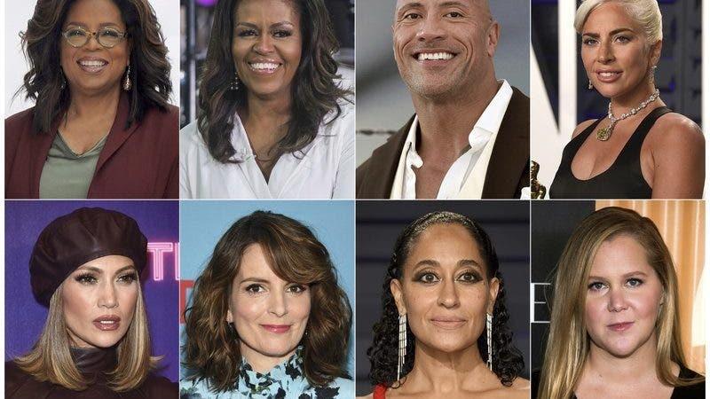 En esta combinación de fotos, arriba, de izquierda a derecha, Oprah Winfrey, la ex primera dama Michelle Obama, Dwayne Johnson y Lady Gaga; y abajo, Jennifer López, Tina Fey, Tracee Ellis Ross y Amy Schumer.