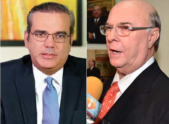 El candidato presidencial del PRM, Luis Abinader, y el expresidente Hipólito Mejía. Archivo.