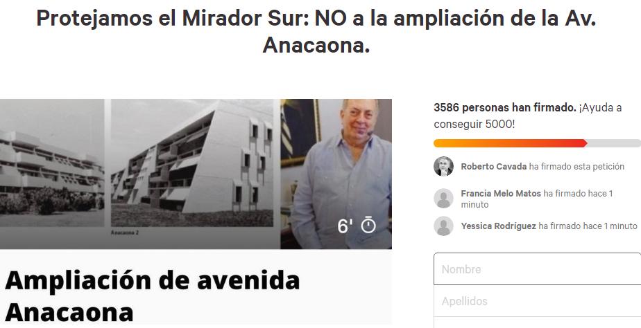 Recolectan firmas en oposición a quitar diez metros a Mirador del Sur para ampliación de avenida Anacaona
