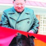 Yangdok County (Korea, Democratic People''s Republic Of), 08/12/2019.- A photo released by the official North Korean Central News Agency (KCNA) on 08 December 2019 shows Kim Jong Un (C), chairman of the Workers' Party of Korea and Supreme Leader of North Korea, cutting a ribbon during a ceremony for the completion of the Yangdok County Hot Spring Cultural Recreation Center in Yangdok County, North Korea. EFE/EPA/KCNA EDITORIAL USE ONLY