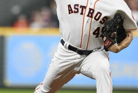 Houston Astros starting pitcher Gerrit Cole delivers during the first inning of the team's baseball game against the Oakland Athletics, Monday, Aug. 27, 2018, in Houston. (AP Photo/Eric Christian Smith)