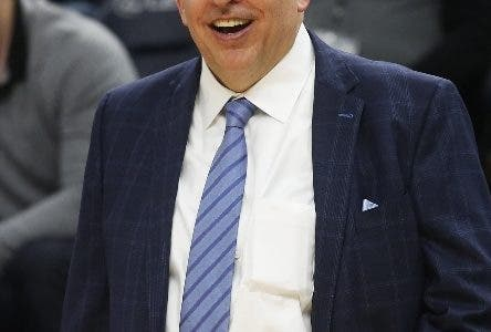 Minnesota Timberwolves head coach Tom Thibodeau smiles in the waning moments as his team defeats the Orlando Magic in an NBA basketball game Friday, Jan. 4, 2019, in Minneapolis. (AP Photo/Jim Mone)