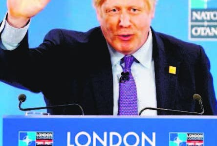 London (United Kingdom), 04/12/2019.- British Prime Minister Boris Johnson attends a press conference during the NATO Summit in London, Britain, 04 December 2019. NATO countries' heads of states and governments gather in London for a two-day meeting. (Reino Unido, Londres) EFE/EPA/WILL OLIVER / POOL
