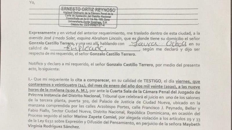 Acto de citación a Gonzalo Castillo.