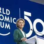Ursula von der Leyen, President of the European Commission, delivers a speech during a plenary session of the 50th annual meeting of the World Economic Forum (WEF) in Davos, Switzerland, Wednesday, Jan. 22, 2020. (Gian Ehrenzeller/Keystone via AP)