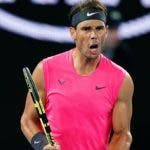 Melbourne (Australia), 23/01/2020.- Rafael Nadal of Spain reacts during his second round match against Federico Delbonis of Argentina on day four of the Australian Open tennis tournament at Rod Laver Arena in Melbourne, Australia, 23 January 2020. (Tenis, Abierto, España) EFE/EPA/SCOTT BARBOUR AUSTRALIA AND NEW ZEALAND OUT