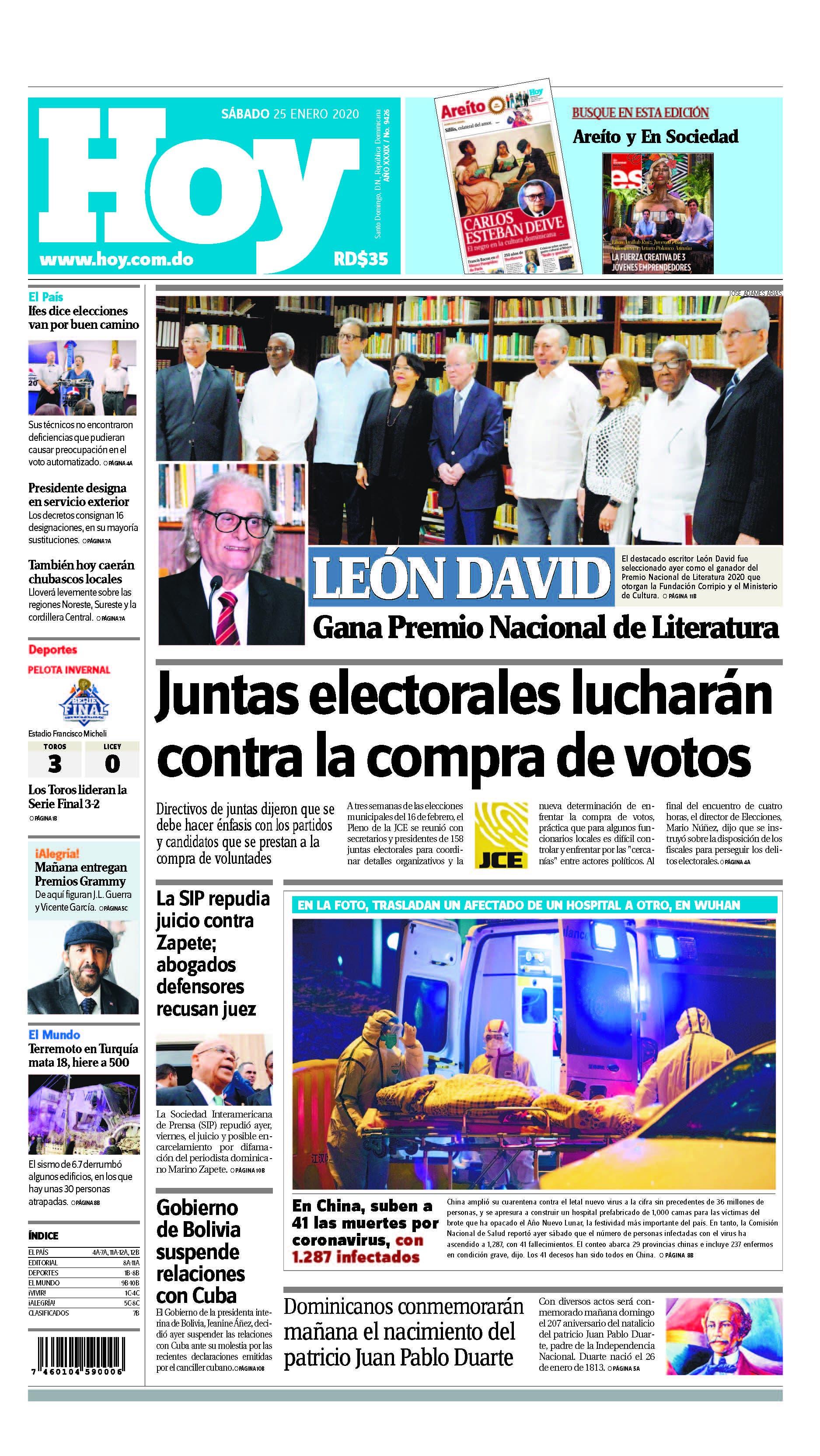 portada 01_2020 HOY_SABADO_250120_ El País1 A