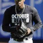 New York Yankees starting pitcher Luis Severino works out at Yankees Stadium, Monday, Oct. 2, 2017, in New York. The Yankees host the Minnesota Twins in the American League wild card playoff baseball game on Tuesday. (AP Photo/Frank Franklin II)