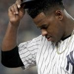 New York Yankees starting pitcher Luis Severino walks off the field during the fourth inning of Game 3 of baseball's American League Division Series against the Boston Red Sox, Monday, Oct. 8, 2018, in New York. (AP Photo/Frank Franklin II)
