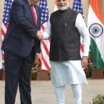 New Delhi (India), 25/02/2020.- Indian Prime Minister Narendra Modi (R) and US President Donald J. Trump (L) shake hands prior to a meeting at Hyderabad House in New Delhi, India, 25 February 2020. US President Trump is on a two-day state visit to India, and will visit the three Indian cities of Ahemdabad, Delhi and Agra. Trump is scheduled to have the bilateral talks with top India leadership, and is expected to discuss intellectual property rights, defence deals, nuclear power cooperation. (Lanzamiento de disco, Estados Unidos, Nueva Delhi) EFE/EPA/RAJAT GUPTA