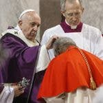 Rome (Italy), 26/02/2020.- Pope Francis applies ash to a cardinal's forehead as he celebrates Ash Wednesday Mass at the Basilica of Saint Sabina in Rome, Italy, 26 February 2020. (Papa, Italia, Roma) EFE/EPA/FABIO FRUSTACI