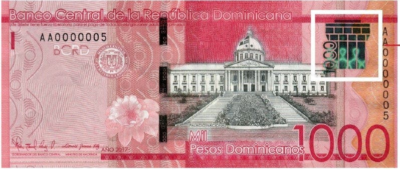 El Banco Central de la República Dominicana (BCRD) informó que a partir del próximo lunes se pone en circulación un billete de 1,000 pesos dominicanos de la serie 2017.