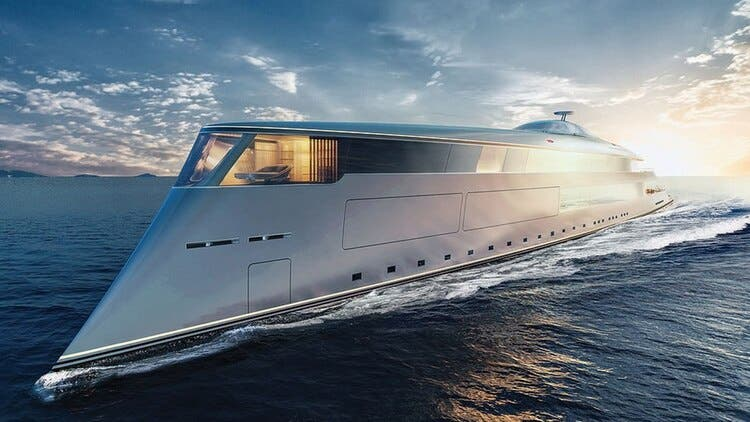 El estudio de diseño Sinot dijo que el exterior del barco se inspiró en el oleaje del océano, el movimiento de las mareas y el tiempo en el mar abierto.
