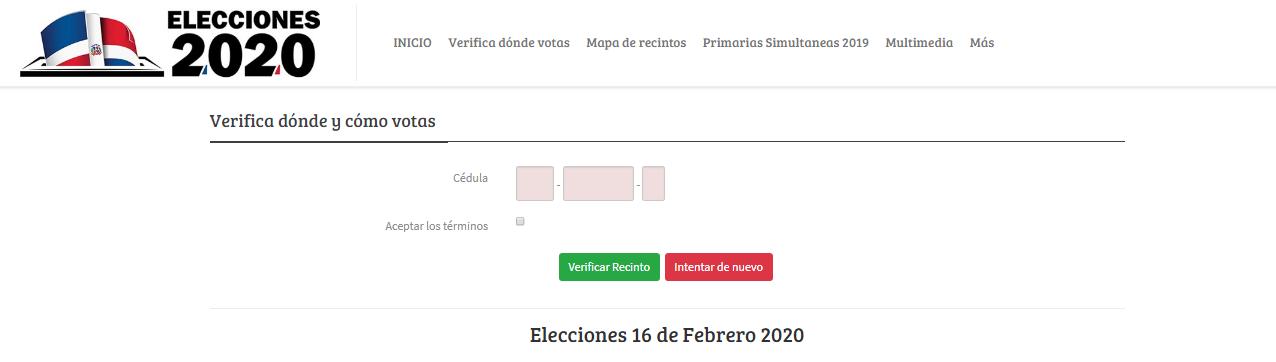Campos para introducir la cédula de identidad para verificar recinto de votación