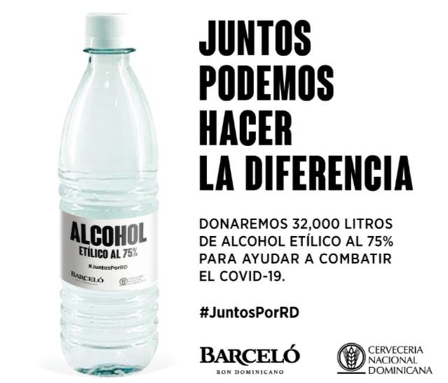Ron Barceló y Cervecería donan producto para ser utilizadocontra el Covid-19