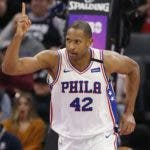 Philadelphia 76ers forward Al Horford flashes one finger after scoring against the Sacramento Kings late in the second half of an NBA basketball game in Sacramento, Calif., Thursday, March 5, 2020. The 76ers won 125-108. (AP Photo/Rich Pedroncelli)
