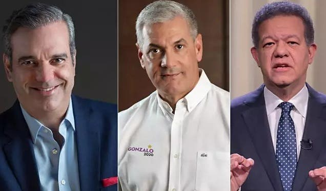 Luis Abinader, Gonzalo Castillo y Leonel Fernández. Candidatos del Partido Revolucionario Moderno, Partido de la Liberación Dominicana y partido Fuerza del Pueblo, respectivamente. Archivo.