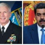Craig Faller, jefe del Comando Sur de EE. UU. y Nicolás Maduro, presidente de Venezuela. AFP y EFE