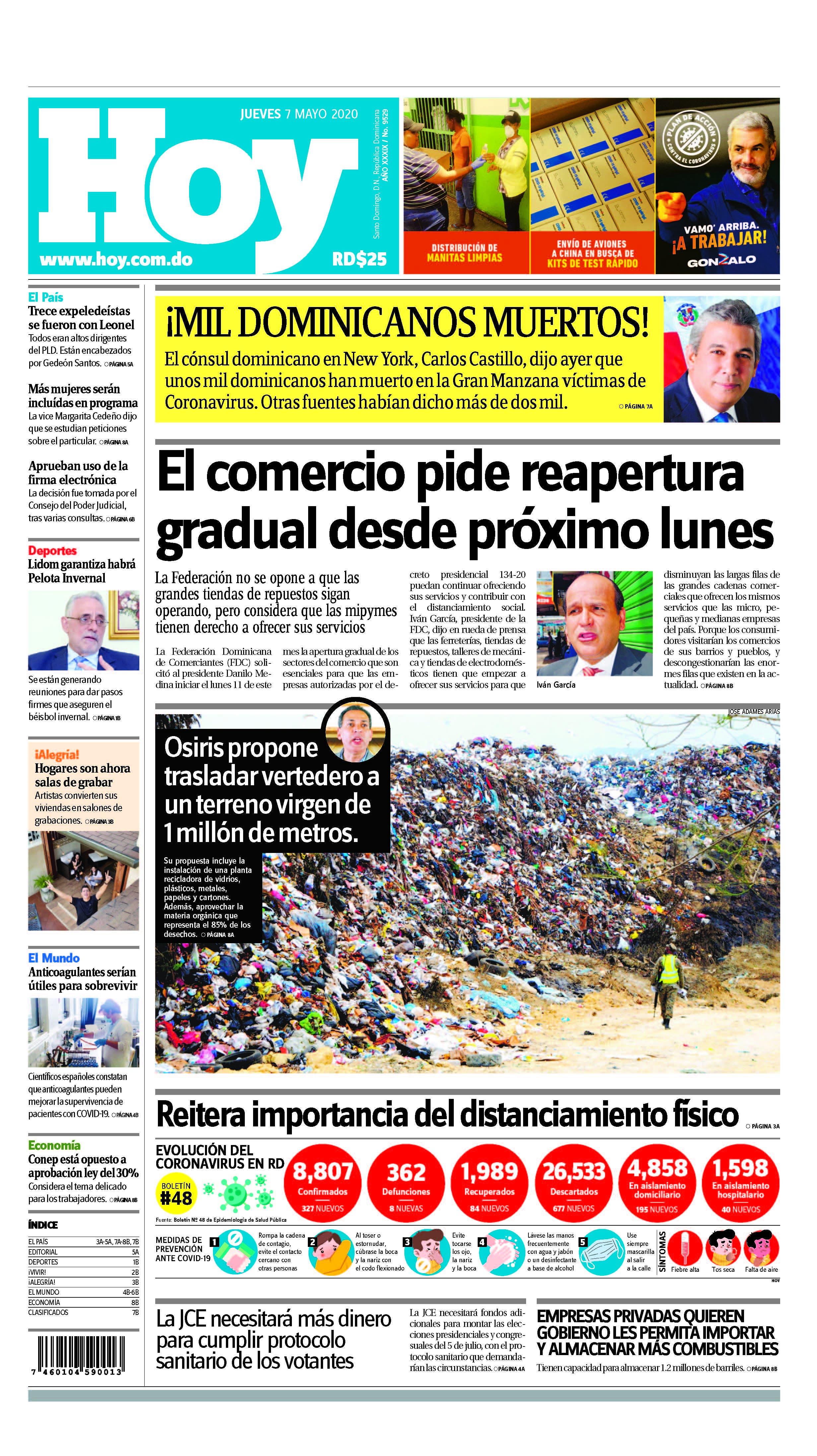 Edición impresa HOY jueves 07 de mayo del 2020