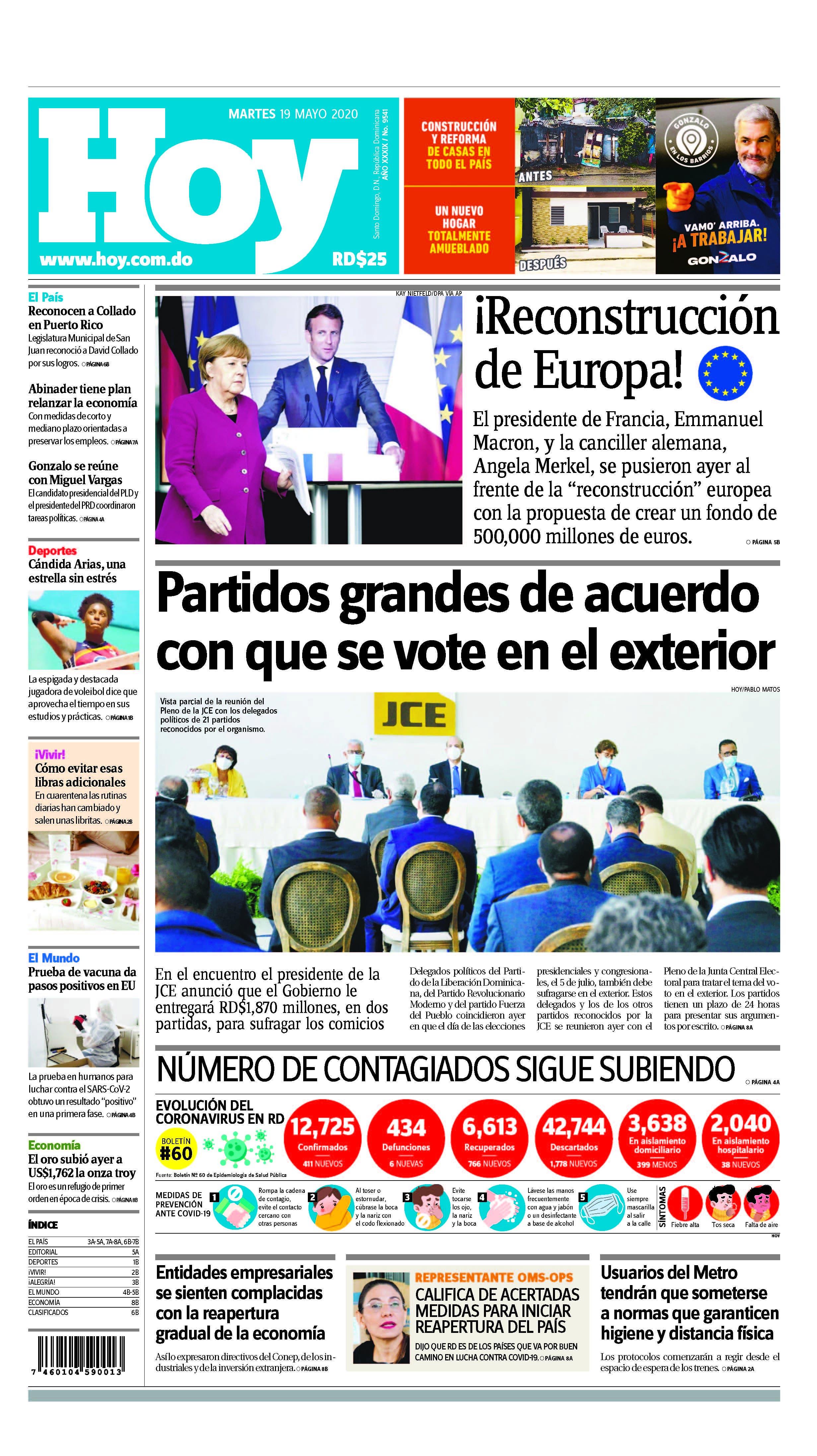 Edición impresa HOY martes 19 de mayo del 2020