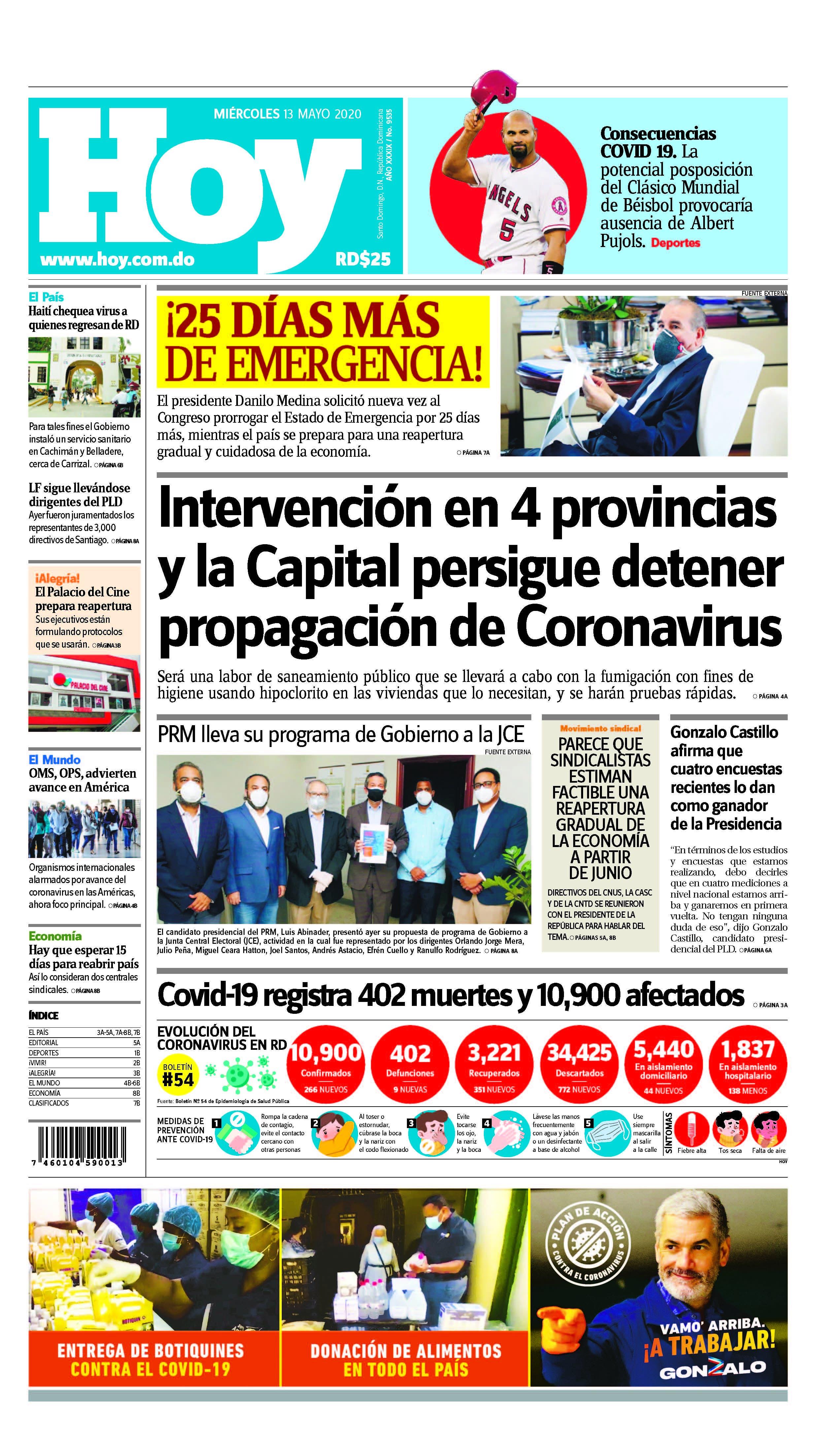 Edición impresa HOY miércoles 13 de mayo del 2020