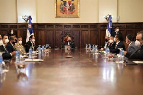 Danilo Medina recibió a líderes empresariales para tratar apertura económica frene al coronavirus. Fuente externa.