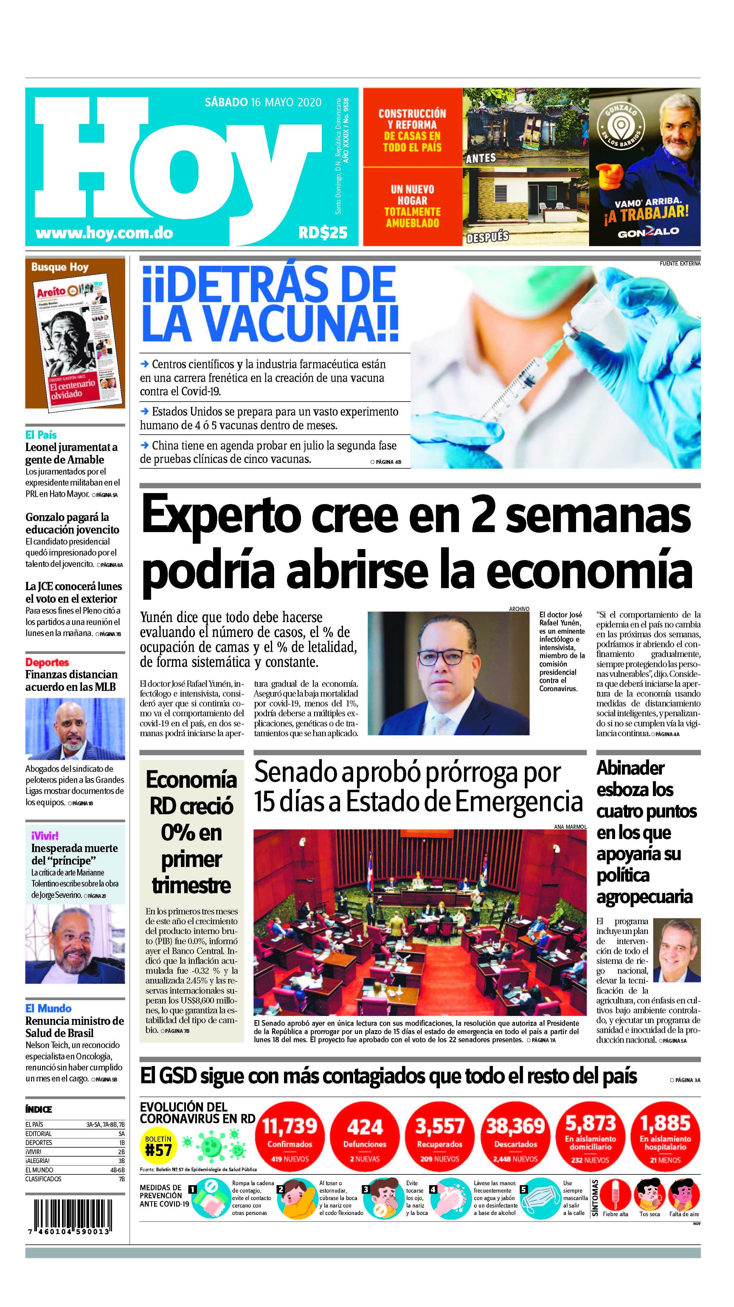 Edición impresa, HOY, sábado 16 de mayo, 2020