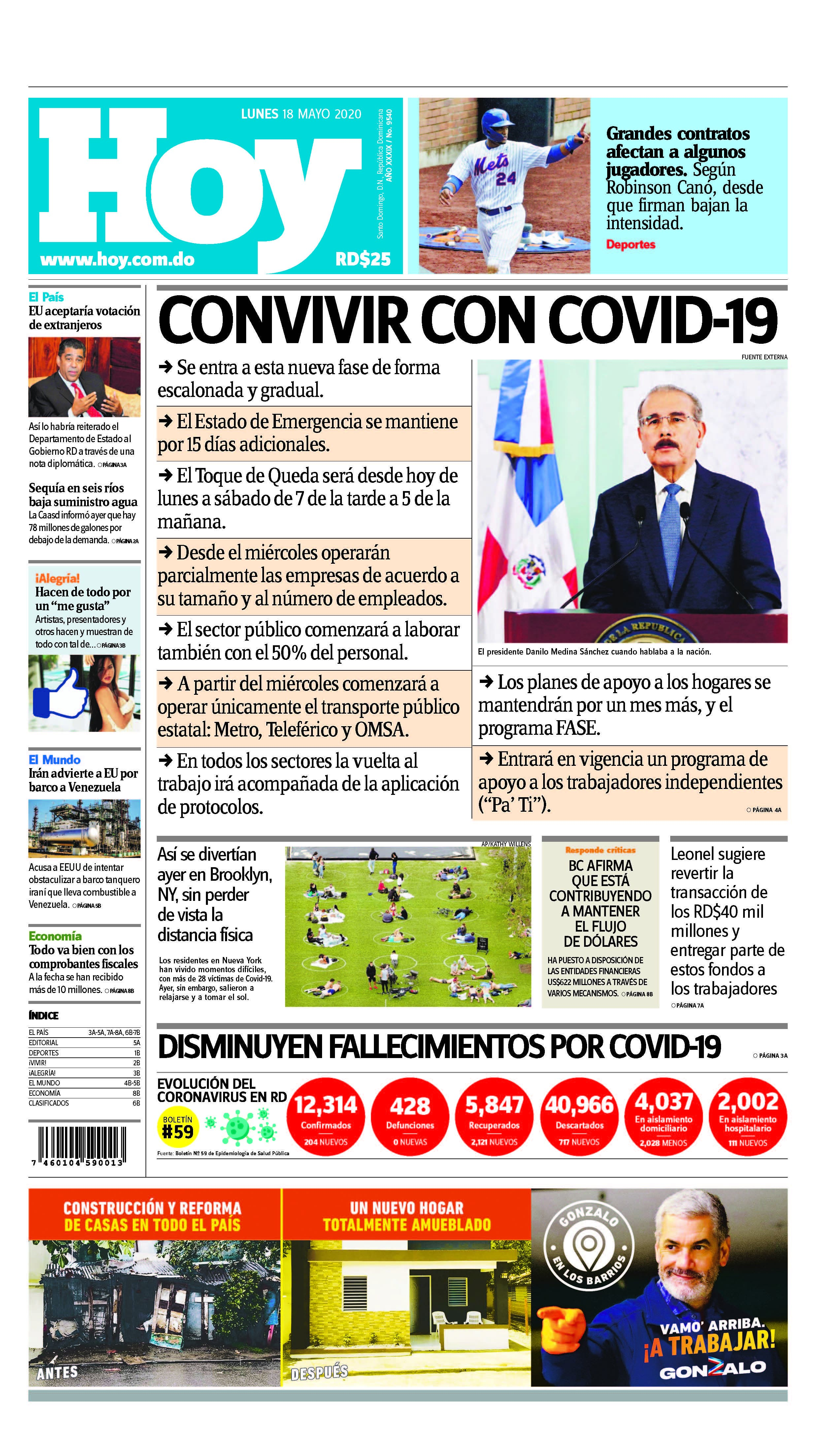 Edición impresa,Hoy, lunes 18 de mayo, 2020