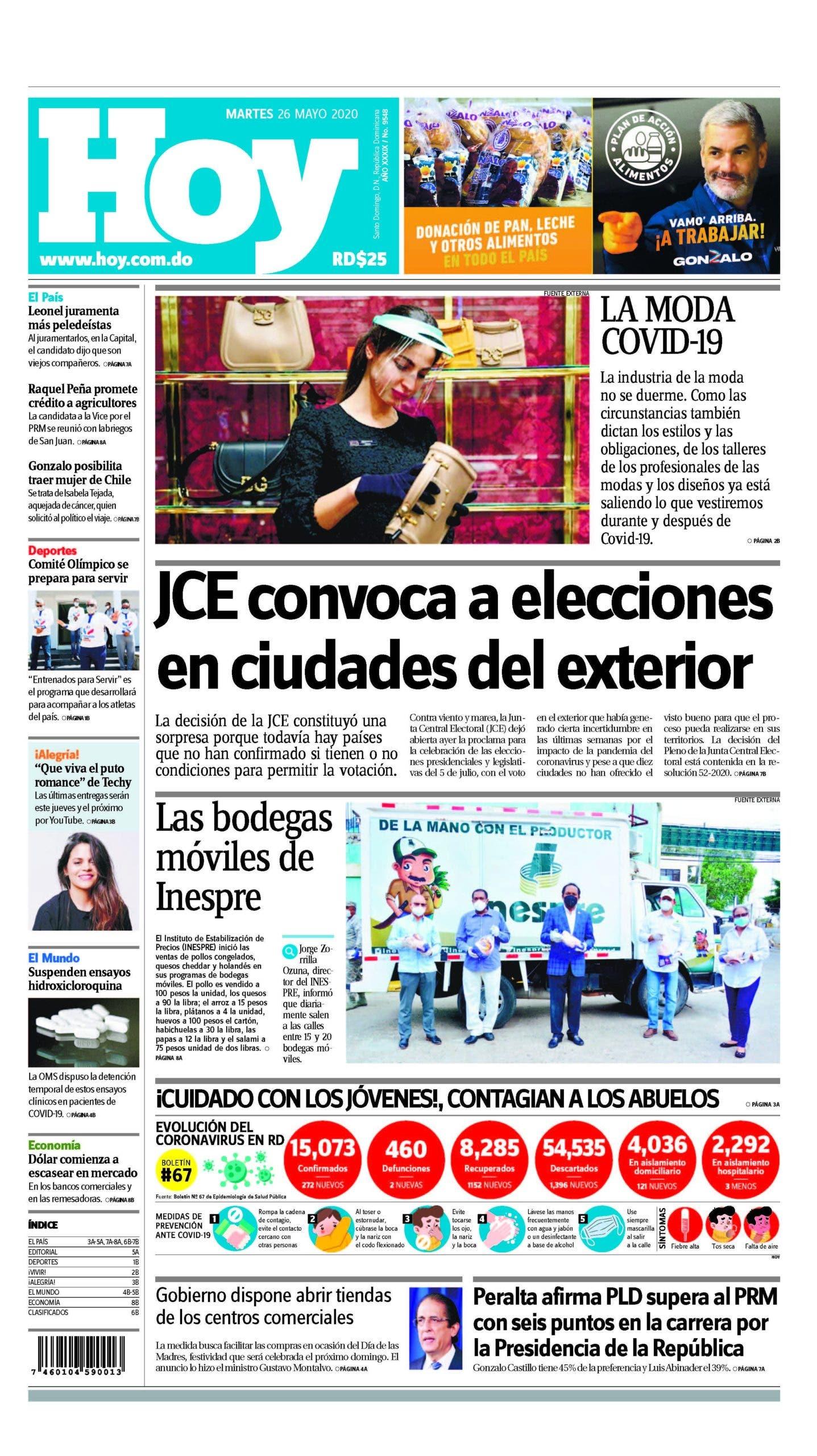Edición impresa,HOY, martes 26 de mayo, 2020