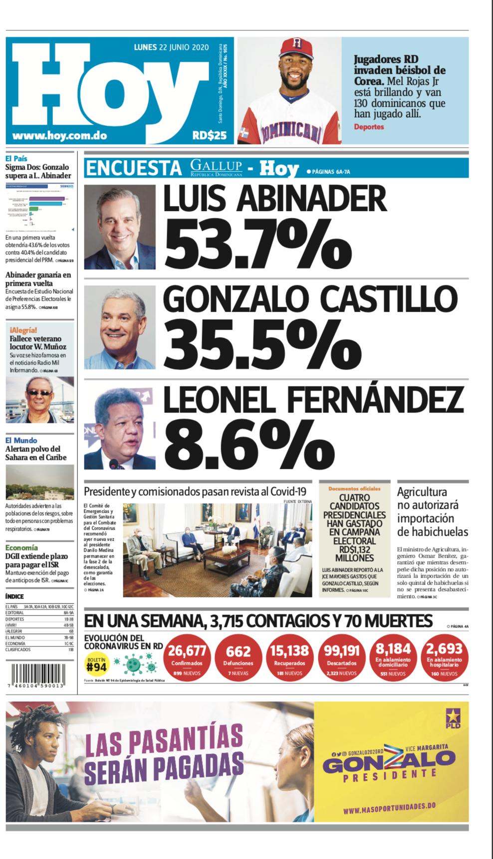 Edición impresa hoy lunes 22 de junio