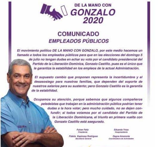 Publican espacio pagado pidiendo a empleados públicos votar por Gonzalo para estabilidad de empleos en actual administración
