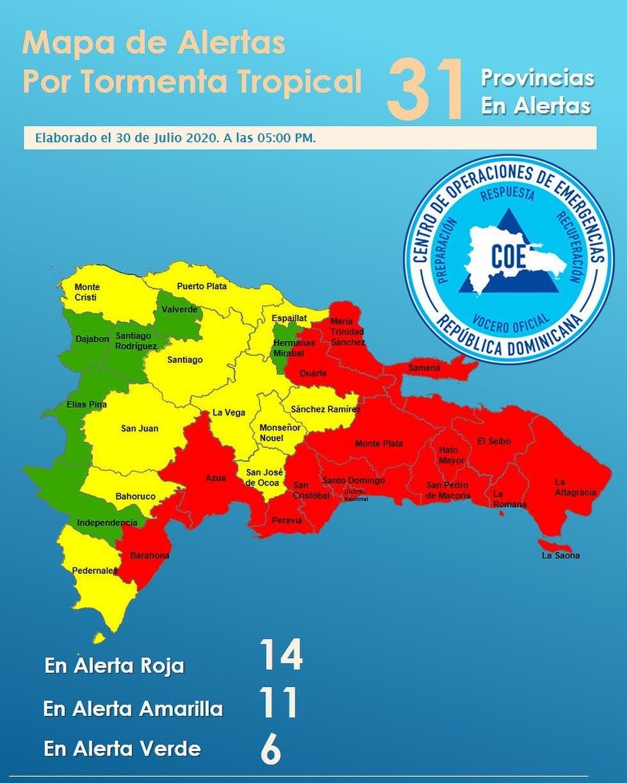 COE eleva a 14 las provincias en alerta roja por tormenta Isaías