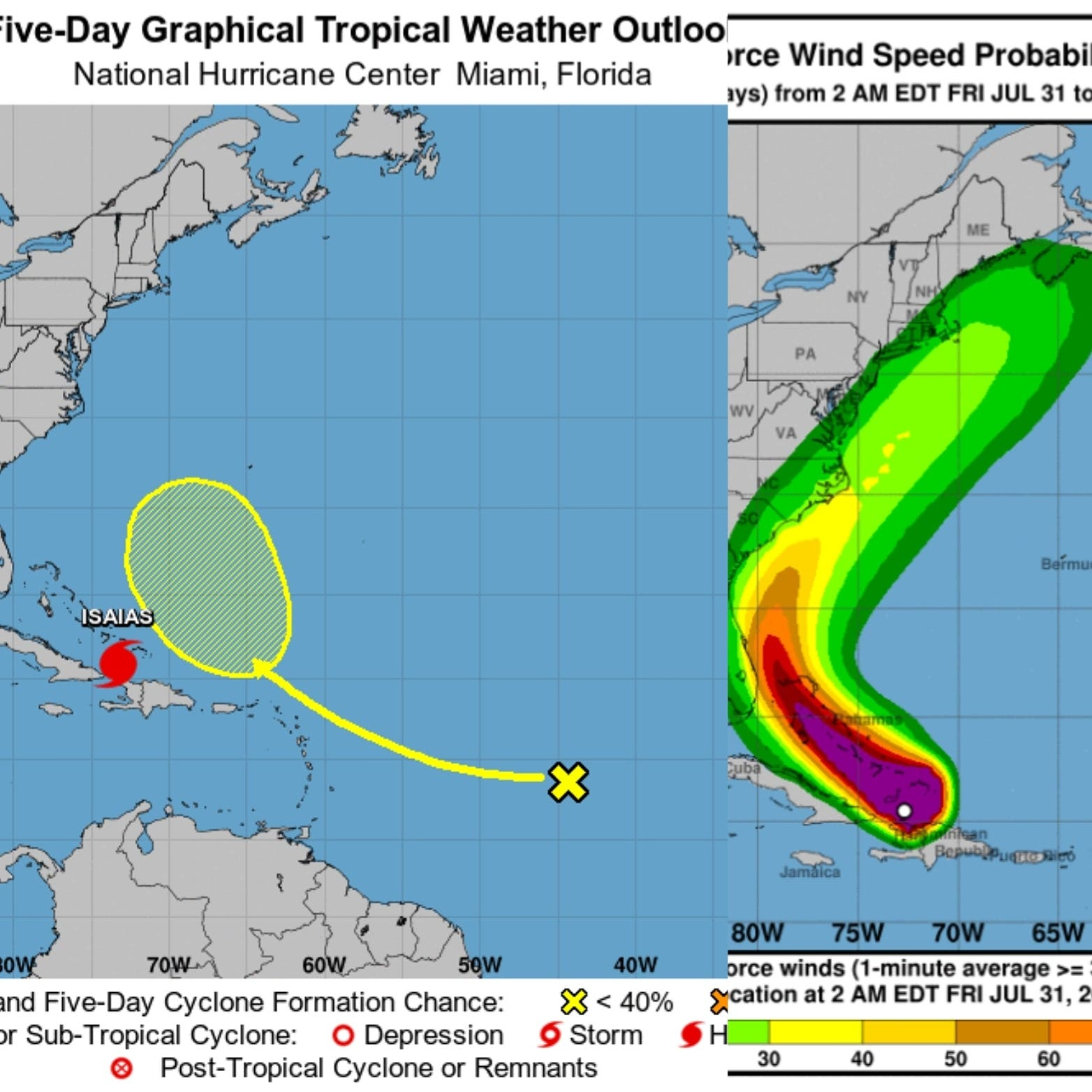 Isaías se convierte huracán mientras se aleja de RD y va rumbo a Bahamas