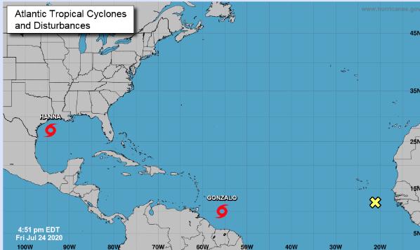 Tormenta tropical Gonzalo se acerca al Caribe;  Hanna gana fuerza