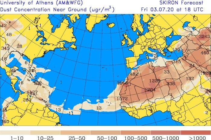 Se espera para esta tarde un aumento de partículas de polvo de Sahara