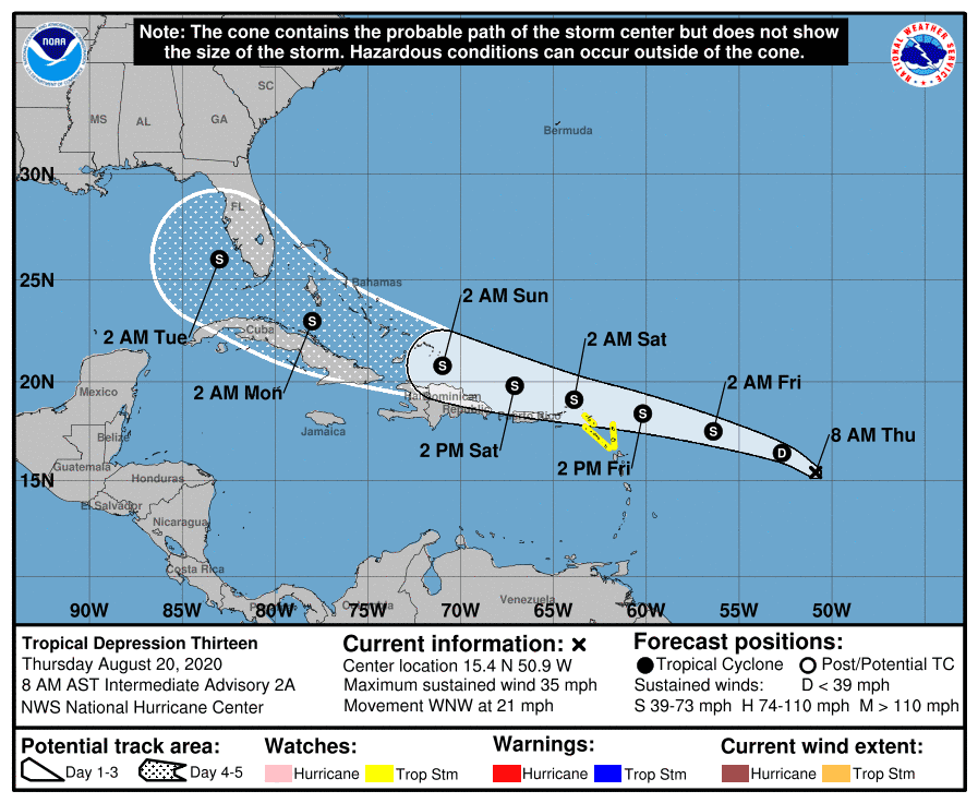 Se forma la Depresión Tropical número 13