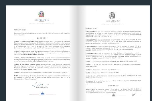 Decreto: Aquí todas las designaciones realizadas esta noche por Luis Abinader
