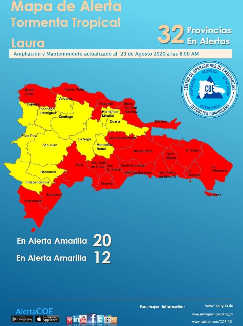 Provincias en alerta roja y amarilla
