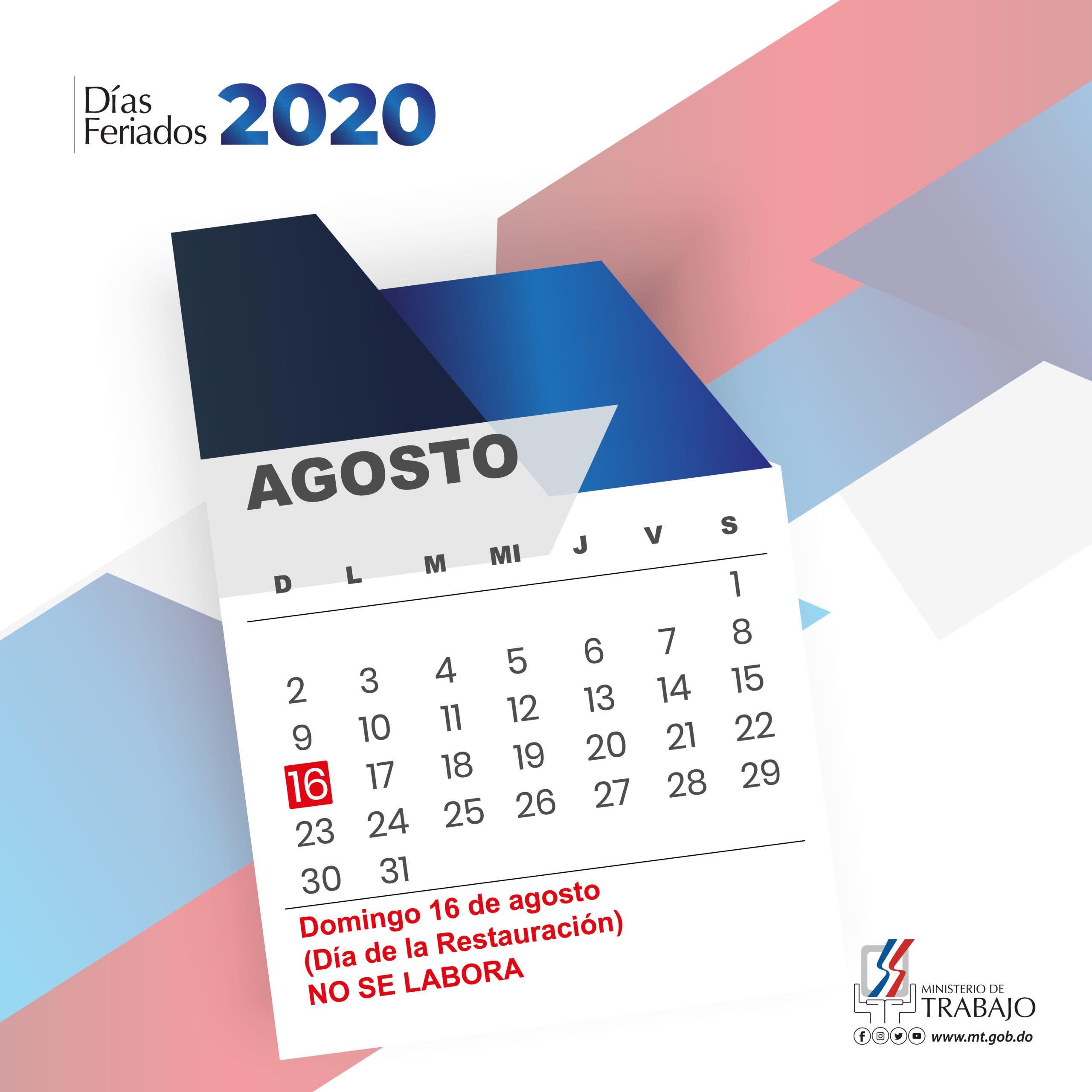 """Ministerio de Trabajo reitera 16 de agosto """"Día de la Restauración"""" no se trabaja"""