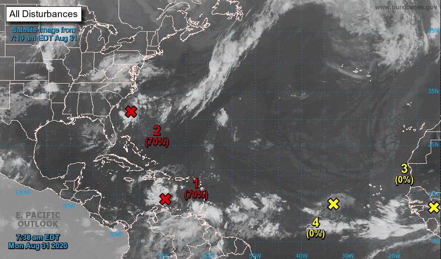 Dos depresiones tropicales pueden surgir esta semana en la cuenca atlántica