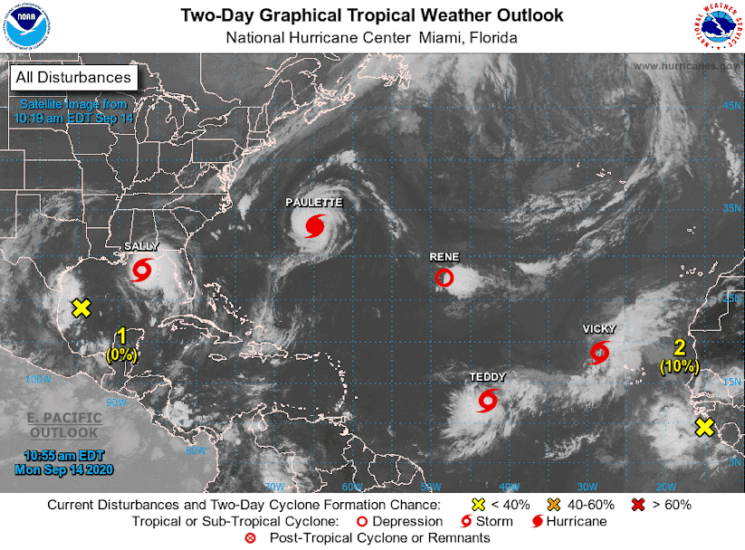 Se forman las tormentas tropicales Teddy y Vicky en la cuenca atlántica