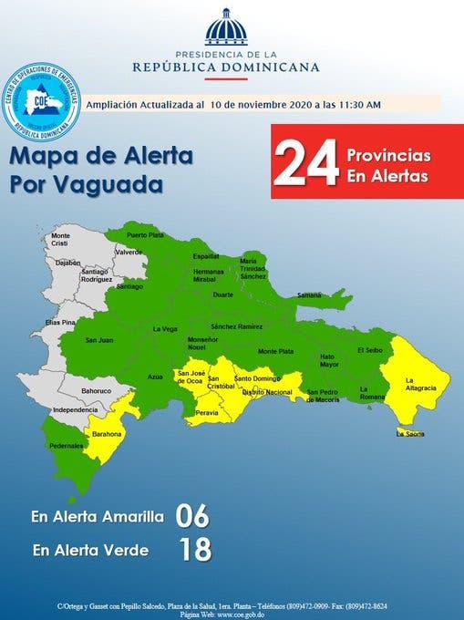 COE eleva a 24 las provincias en alerta por incidencia de vaguada