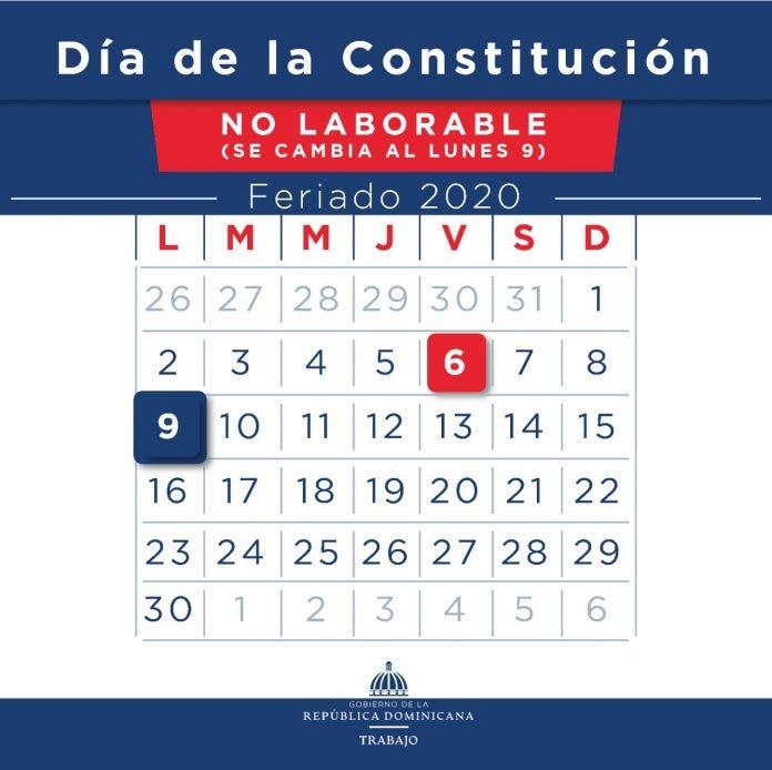 """Ministerio de Trabajo: feriado """"Día de la Constitución"""" se cambia para el lunes nueve"""