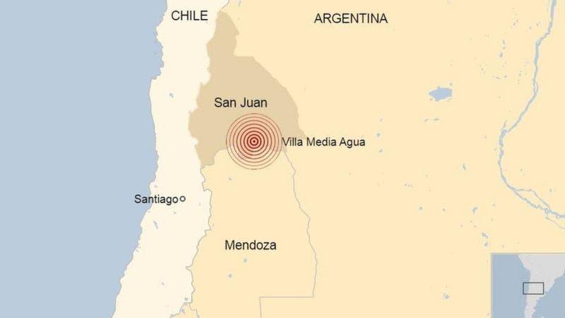 Sismo de 6,4 grados hace temblar fuerte diversas zonas de Argentina