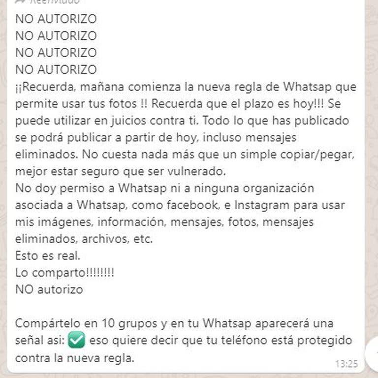 Es falso que puedas bloquear nuevos términos de WhatsApp compartiendo cadena diez veces