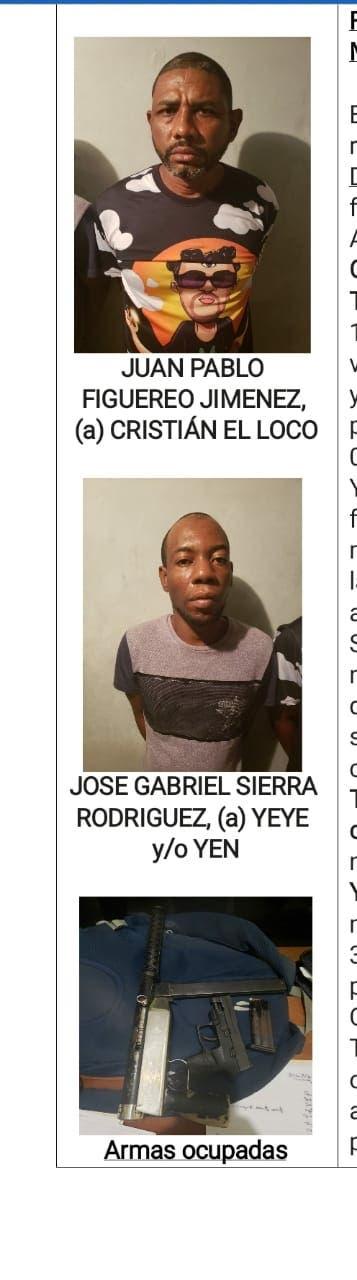 PN captura dos hombres eran buscados por homicidios y otros delitos