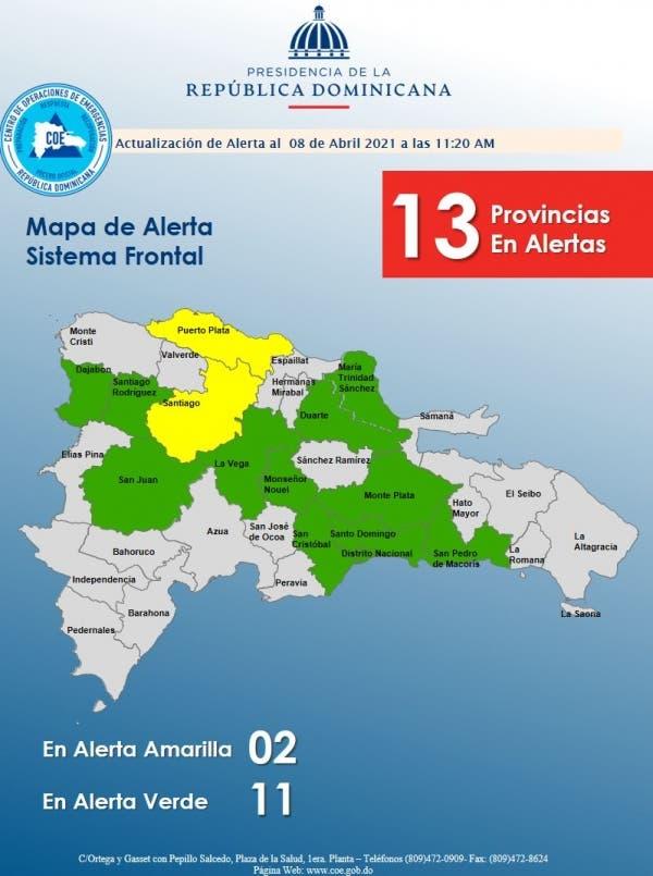 COE mantiene en alerta a 13 provincias debido a vaguada